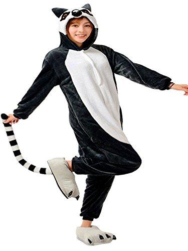 ABYED® Jumpsuit Tier Karton Fasching Halloween Kostüm Sleepsuit Cosplay Fleece-Overall Pyjama Schlafanzug Erwachsene Unisex - Erwachsene Kostüm Affe Für Halloween