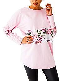 db5307f0c4cd Lazzboy Damen Lose Asymmetrisch T-Shirt Top Langarmshirt Pullover Lady-Fit  Leicht und Luftig Bluse…