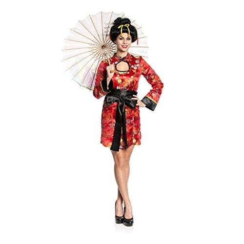 Kostümplanet® China-Kostüm Deluxe Damen Chinesin Kostüm Chinese chinesische Frau Faschingskostüm Größe (Chinesisches Kostüme)