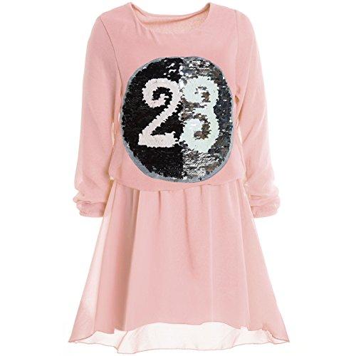 Kostüm Kinder Von Für Italien - BEZLIT Mädchen Wende-Pailletten Frühlings Kleid Peticoat Fest Lang Arm Kostüm 21002 Rosa Größe 140