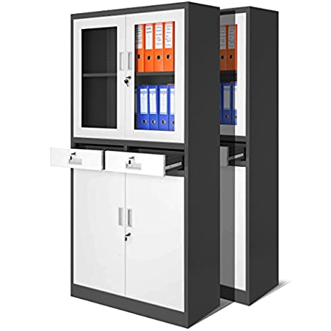 2er Set Aktenschrank C017 mit Flügeltüren aus Glas, mit zwei Schubladen, Medizinschrank, Büroschrank, Stahlschrank, 4 Farben zur Auswahl (anthrazit-weiß)