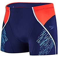 Speedo Fit Panel Bañador, Hombre, Azul (Navy/Lava Red/Turquoise), 34