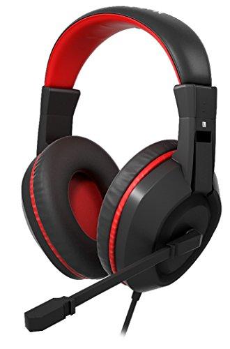 Mars Gaming MAH0+ - Auriculares gaming para PC, drivers neodimio 40 mm, diadema ajustable, rueda de control de volumen, cancelación de ruido, micrófono plegable y flexible, ergonómico, jack 3.5 mm, negro y rojo