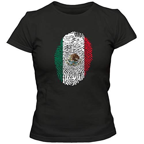 Damen T-Shirt Mexico Mexiko Fußball Trikot Fingerabdruck WM, Farbe:schwarz, Größe:S