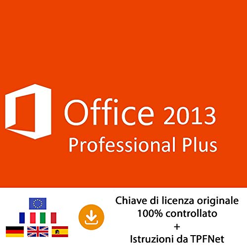 MS Office 2013 Professional Plus 32 bit e 64 bit - Chiave di Licenza Originale per Posta e E-Mail + Guida di TPFNet - Spedizione max. 60min
