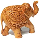 PARIJAT HANDICRAFT Handcrafted Wooden Painted Elephant Statue Small