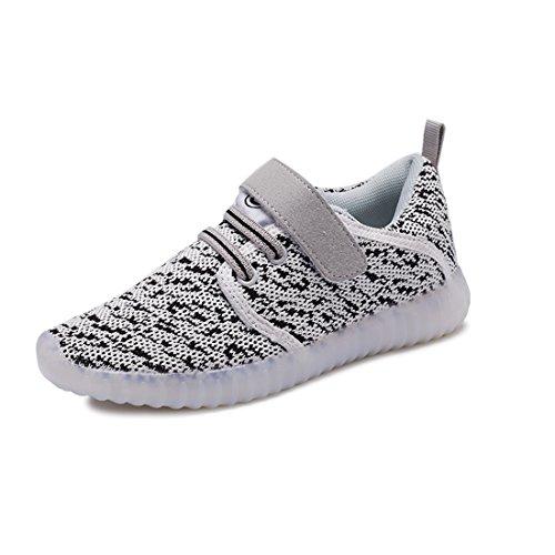 O&N LED Schuhe USB Aufladen Leuchtend Mesh Sport Schuhe schnürsenkel Sneakers Leichtbau brillant Stil Schuhe für Unisex Kinder Weiß