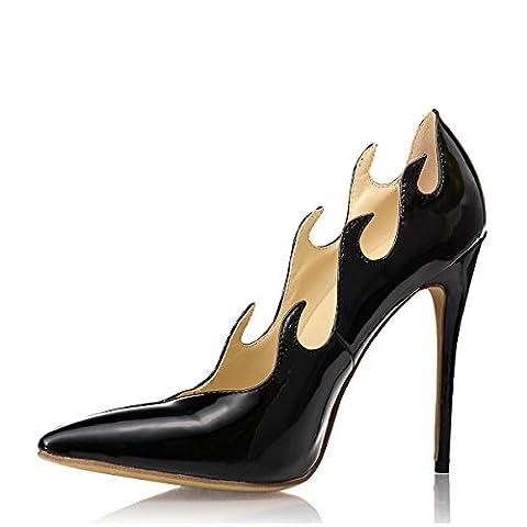 Miyoopark , Sandales Compensées femme - noir - Black/Patent Leather-4.3