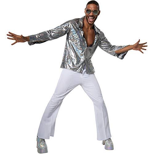 dressforfun 900382 - Herrenkostüm Disco Boy, Langarmhemd mit Kragen ist aus Reflektierendem Glanzstoff (S | Nr. 302170)