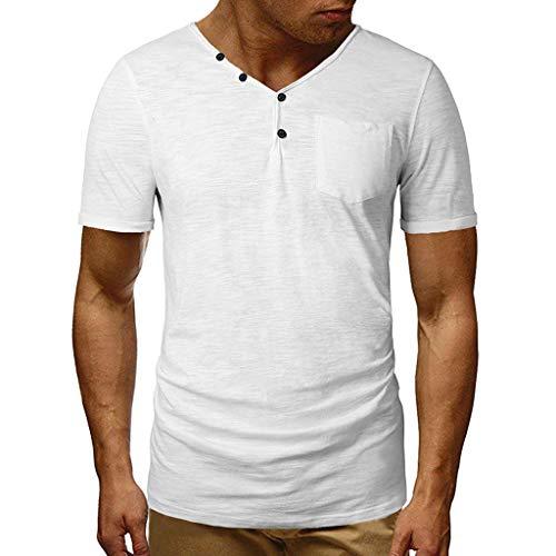 UJUNAOR Herren Basic T-Shirt Slim Fit Kurz V-Ausschnitt Shirt Bluse Solide Sweatshirt Muskel Gym Fitness(Weiß,Large)