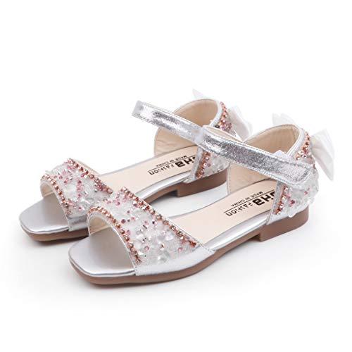 Hokoaidel Sommer Offene Zehensandalen Sandalen Mode Große Bowknot Mädchen Atmungsaktiv Flache Schuhe Mädchen weichen Sohlen Prinzessin Sandalen ()