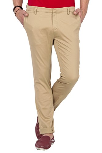 Mufti Mens Fawn Pencil Fit Mid Rise Trousers