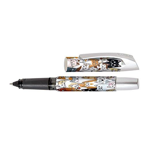 Online Schreibgeräte 61367/3D - Tintenpatronen-Rollerball, robuste  Rollerball-Spitze, Fluffy Cats