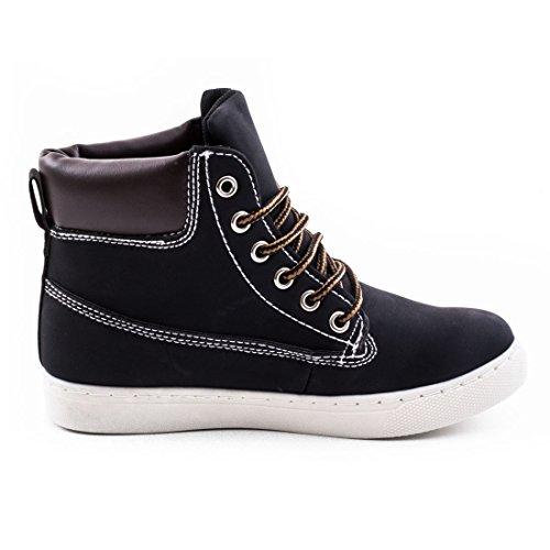 Scarpe Da Uomo Sneaker Stivali In Pelle Di Alta Qualità Look Da Donna Nero