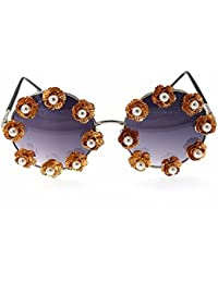 109854e99f Lentes planos espejados Gafas de sol barrocas de la perla retro para las mujeres  Gafas de