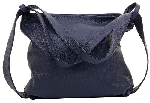 Blau Leder Tasche (Primo Sacchi® Ladies Italian Navy Blau texturiertes Leder Pack Schultertasche Tasche Rucksack Rucksac. Incudes Branded Protective Storage Bag)