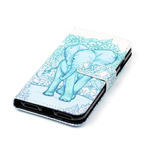 iPhone 7 Plus Coque, Apple iPhone 7 Plus Coque, Lifeturt [ Green Elephant ] Motif Pure Couleur Housse en Cuir Case à Avec La Fonction Stand Coque de Intérieure Protection Souple Coque Portefeuille TPU E2-Green Elephant