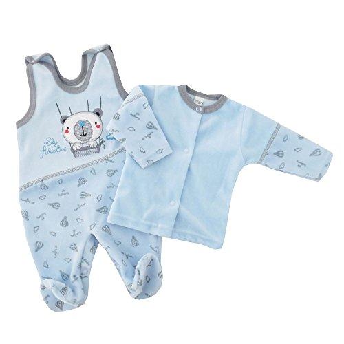 NEU | Jungen Set Shirt und Strampler Bär Ballon blau | 56 62 68 74 1 Monat (56) (Strampler Bär)