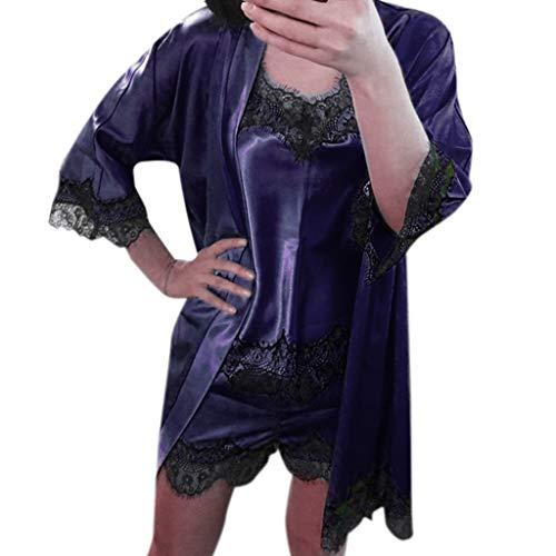 Sunnyuk Satin Pigiami Bretelle del Merletto Biancheria Intima a Due Pezzi Corti,2PC della Biancheria delle Donne Lace-Doll Camicia da Notte degli Indumenti Underwear Set