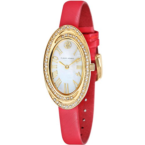 Klaus Kobec KK-10022-03 Ladies Tanisha Red Leather Strap Watch with Crystal Bezel