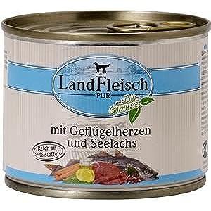 12 x Landfleisch Dog Pur Geflügelherzen & Seelachs 195g