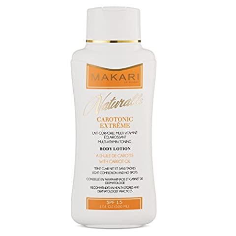 Makari Naturalle Carotonic Extreme Body Lotion 17.6oz – Lightening, Toning & Moisturizing Body Cream With Carrot Oil & SPF 15 – Anti-Aging & Whitening Treatment for Dark Spots, Acne