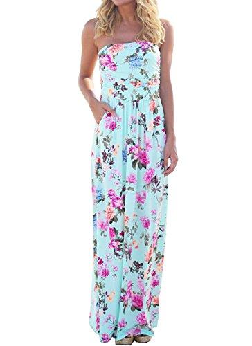 Beachwear Druck Maxi Kleider Damen Reizvolle ärmelloses Schulterfrei Lange Kleid Bandeau Abendkleider Partykleider Strandkleid, Azurblau, Gr. S