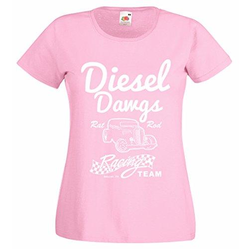 Damen Diesel DAWGS Rat Rod Racing Team T-Shirt Gr. X-Large, Hellpink