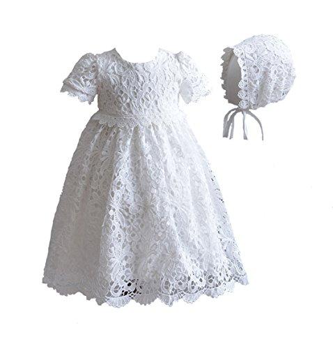 Cinda Baby Spitze Taufkleid mit Mütze Elfenbein 56-62