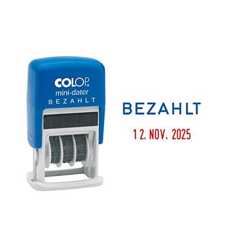 Colop S160/L2 MiniDater 5 x 25 mm, 4 mm Kissen rot/blau Bezahlt