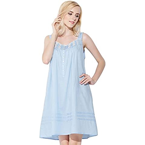Jinyufeng Donne Camicia da Notte Collo Square è Pizzo Senza Maniche Blu DK1994 (L/XL)