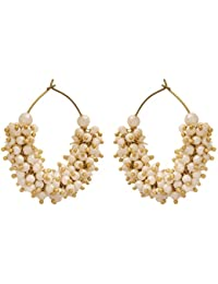 JFL - Traditional Ethnic One Gram Gold Plated Pearls Designer Bali Earring For Women & Girls