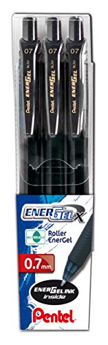 Pentel BL107 Energel X scatto 0.7mm taschina 3 pz Nero