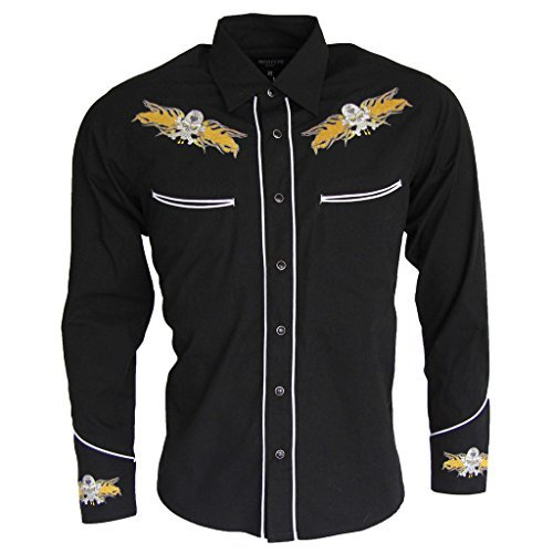 relco-black-yellow-rockabilly-biker-western-skull-flamed-embroidered-shirt-men-black-x-large