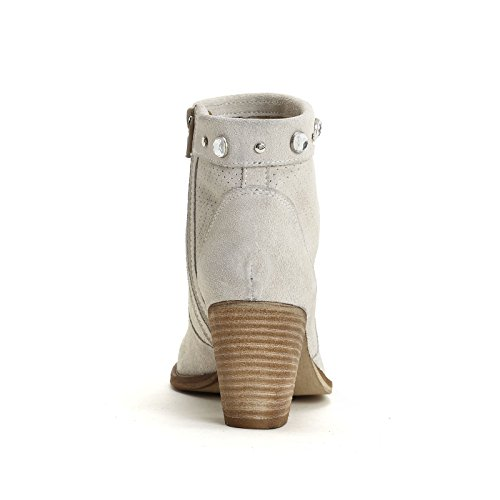 ALESYA by Scarpe&Scarpe - Bottines hautes avec micro ajours et strass, en Cuir, à Talons 7 cm Blanc