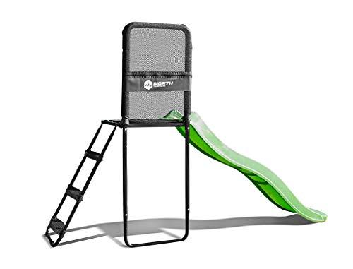 North Trampoline Base/Plattform mit Rutsche und Leiter, stabiles Trampolin-Zubehör, sicherer Einstieg für Kinder und Erwachsene, Höhe anpassbar an alle North Modelle (Modell 2019)