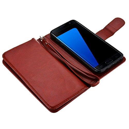 Custodia per Samsung Galaxy S7 Edge, SMARTLEGEND 3 in 1 Custodia in Pelle Supporto Stand e Porta Carte Integrati Portafoglio Flip Cover e Stylus Pen con Chiusura Magnetica per Samsung Galaxy S7 Edge - Rosso