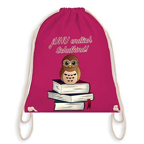 Einschulung - jUHU endlich Schulkind! Büchereule - Unisize - Fuchsia - WM110 - Turnbeutel & Gym Bag