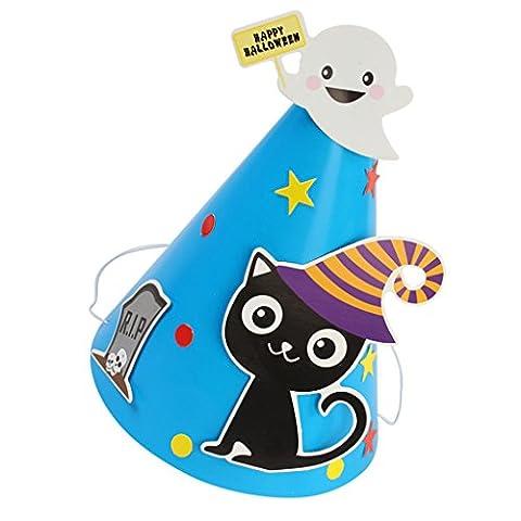 MagiDeal Halloween Partyhüte / Partyhütchen / Kegelhut – Hallowmas Muster - Halloween & Party - DIY Set - Katze (Schwarze Katzen-kostüm Diy)