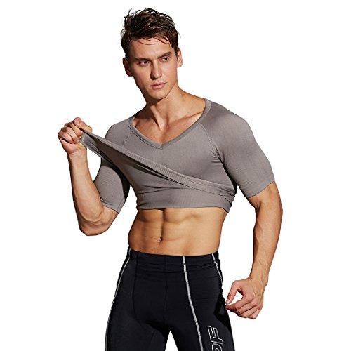 CRAZY reduziert! Slimming Body Shaper HOTER Herren Weste Slim Abs Bauch, Stückpreis (1 #meistverkaufte Formendes Top Brand Sie auf AMAZON!!) Z-Grey(T-shirt)