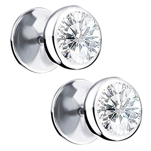 Ditz Ohrstecker Titan mit Zirkonia Stein Kreis Platte zum Schrauben Fake Plug Piercing Ohr Damen Herren Doppel Ohrringe Rund Schlicht Silber 10mm