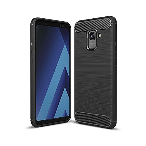 Elekin Galaxy A8 2018 Hülle, Handyhülle für Samsung A8 2018 Case Cover- Schwarz