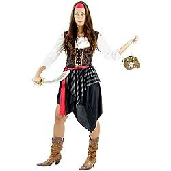 Foxxeo 40068- Disfraz de mujer pirata S–XXL