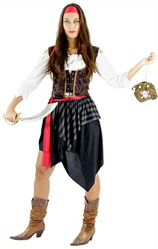 Frauen Für Piraten Erwachsene Kostüm - Piraten Kostüm für Damen Fasching Piratin Rock Piratenbraut Frauen Karneval Fasching Größe XXL