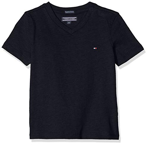 Tommy Hilfiger Jungen Boys Basic Vn Knit S/S T-Shirt, Blau (Sky Captain 420), (Herstellergröße: 92)
