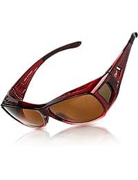 Duco POLARISED OVERGLASSES Wraparound Fit Over Glasses for Myopia 8953