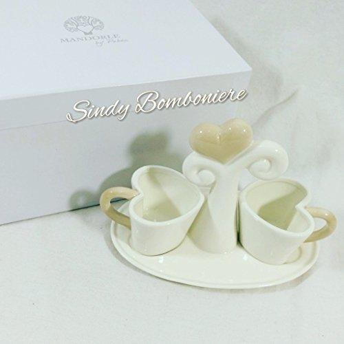Vassoio bomboniera per matrimonio anniversario albero della vita 2 tazze caffè porcellana nozze sposi (bomboniera con scatola no confezione)