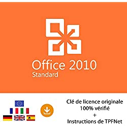 MS Office 2010 Standard 32 Bits & 64 Bits - Clé de Licence Originale par Postale et E-Mail + Instructions de TPFNet® - Livraison Maximum 60min