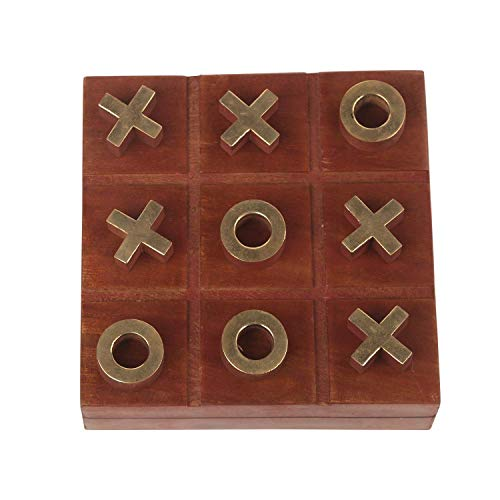 Indiaethnicity Cyber Montag Holz Tic Tac Toe Brettspiele Noughts and Crosses Familie Brain Teaser Couchtisch Spiele Weihnachtsgeschenkbox