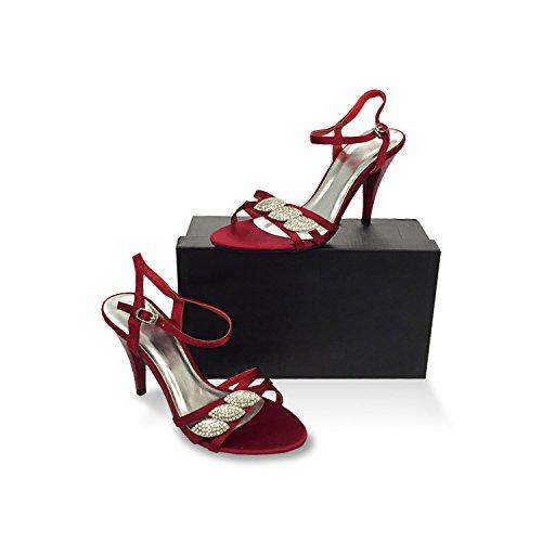 Pumps Sandale Sandalen Stiletto mit Glitzer Strass Riemchenschnürung hoher Absatz sehr elegant Größe 36 maroon